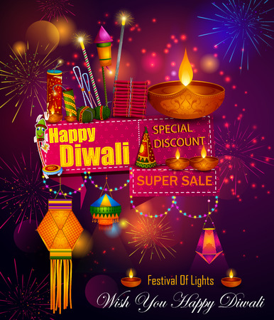 Happy Diwali light festival of India greeting advertisement sale banner background Stock Photo