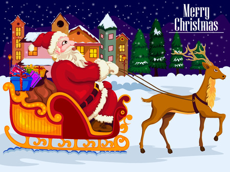legendary: Santa Claus riding his sleigh with gifts for Christmas vector Illustration