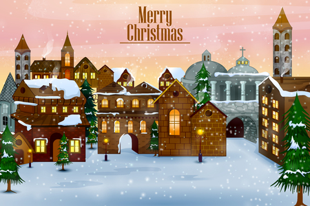 Casa decorada sobre fondo de felicitación de celebración feliz invierno para Navidad en vector