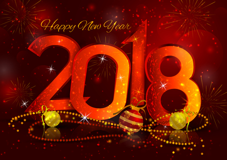 happy new year 2018 wishes greeting card template background design in vector stock vector 90305868
