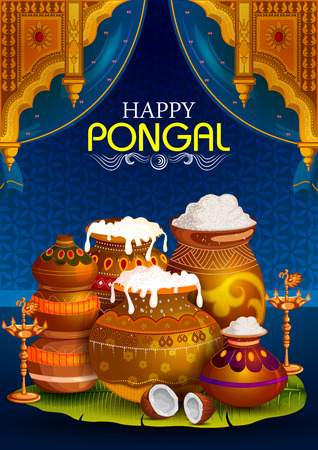 Happy Pongal religious holiday background for harvesting festival of India.
