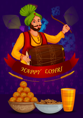 Happy Lohri Punjabi religious holiday background for harvesting festival of India Illustration