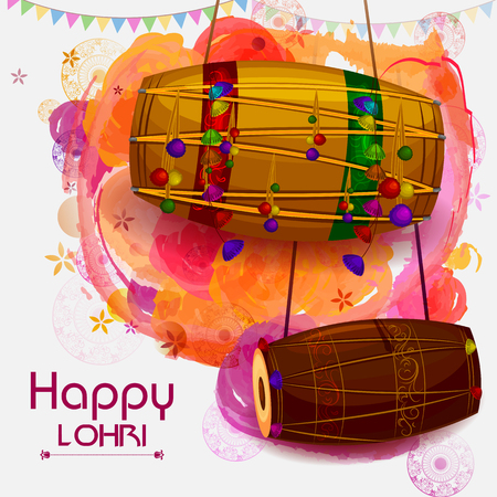 Happy Lohri Punjabi religious holiday background for harvesting festival of India in vector