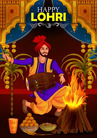 Happy Lohri Punjabi religious holiday background for harvesting festival of India in vector
