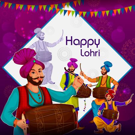 Happy Lohri Punjabi religious holiday background for harvesting festival of India vector illustration