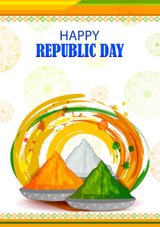 26th January, Happy Republic Day of India, colorful spice Vector illustration.