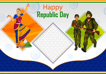 Indian dancer and soldier on 26th January, Happy Republic Day of India