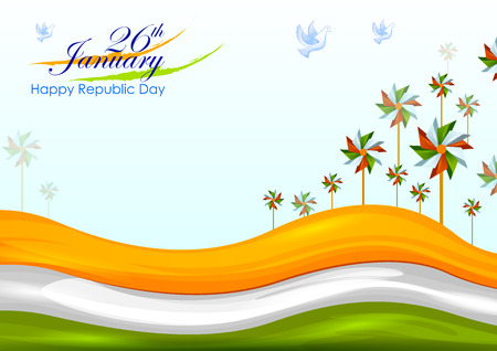 26th January, Happy Republic Day of India as banner background  イラスト・ベクター素材
