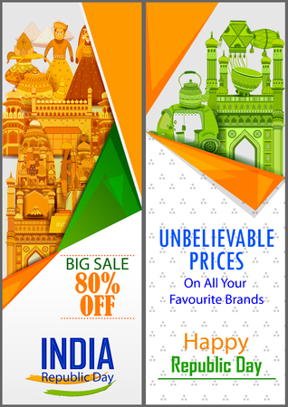 Sale Promotion Advertisement banner for 26th January, Happy Republic Day of India in vector background Vetores