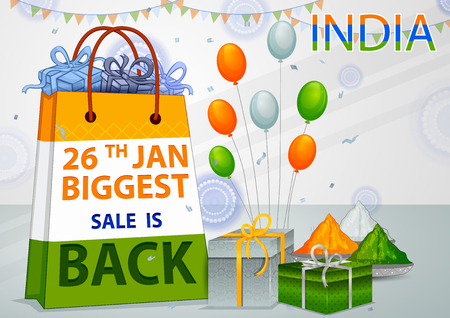 Sale Promotion Advertisement banner for 26th January, Happy Republic Day of India vector illustration