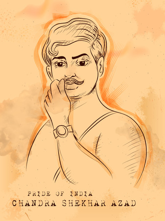 Vintage Indian background with Nation Hero and Freedom Chandra Shekhar Azad Pride of India