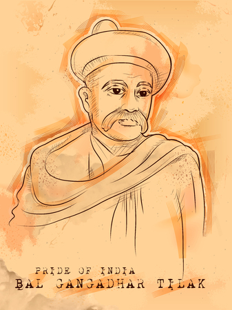 illustration of Vintage Indian background with Nation Hero and Freedom Fighter Bal Gangadhar Tilak Pride of India. Ilustrace