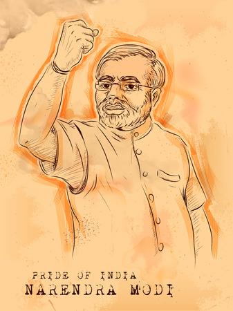 illustration of Vintage background with Indian Great Leader Narendra Modi Pride of India