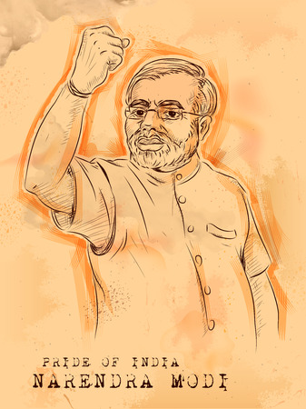 illustration of Vintage background with Indian Great Leader Narendra Modi Pride of India