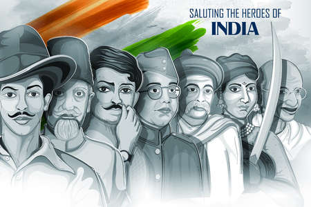 illustration of Tricolor India background with Nation Hero and Freedom Fighter like Mahatma Gandhi, Bhagat Singh, Subhash Chandra Bose for Independence Day Vettoriali