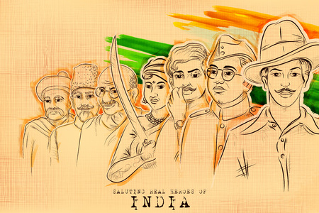 Illustration von Tricolor India Hintergrund mit Nation Hero und Freedom Fighter wie Mahatma Gandhi, Bhagat Singh, Subhash Chandra Bose für Independence Day