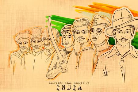 Illustration von Tricolor India Hintergrund mit Nation Hero und Freedom Fighter wie Mahatma Gandhi, Bhagat Singh, Subhash Chandra Bose für Independence Day