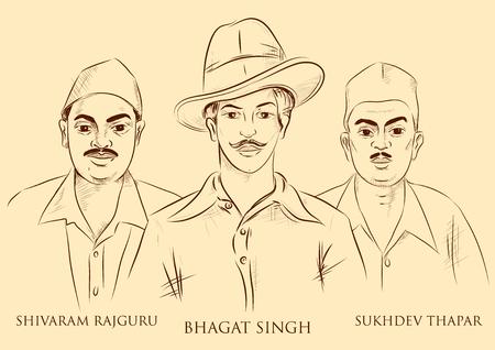 illustration of Indian background with Nation Hero Freedom Fighter Bhagat Singh, Shivaram Rajguru and Sukhdev Thapar