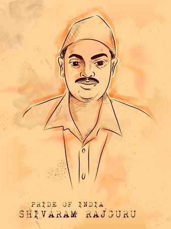 illustration of Vintage Indian background with Nation Hero and Freedom Fighter Shivaram Rajguru Pride of India