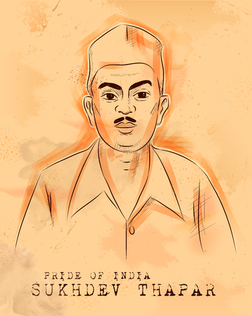 illustration of Vintage Indian background with Nation Hero and Freedom Fighter Sukhdev Thapar Pride of India Vettoriali