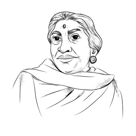 Illustration des indischen Hintergrunds mit Nation Hero und Freedom Fighter Sarojini Naidu Pride of India Standard-Bild - 92999445