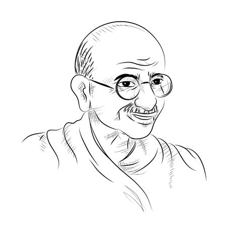 独立記念日やガンジー・ジャアンティのための国家英雄と自由の戦士マハトマ・ガンジーとインドの背景のイラスト