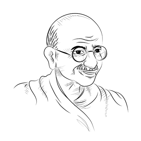 illustration of India background with Nation Hero and Freedom Fighter Mahatma Gandhi for Independence Day or Gandhi Jayanti Vettoriali