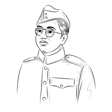 illustration of Indian background with Nation Hero and Freedom Fighter Subhash Chandra Bose Pride of India
