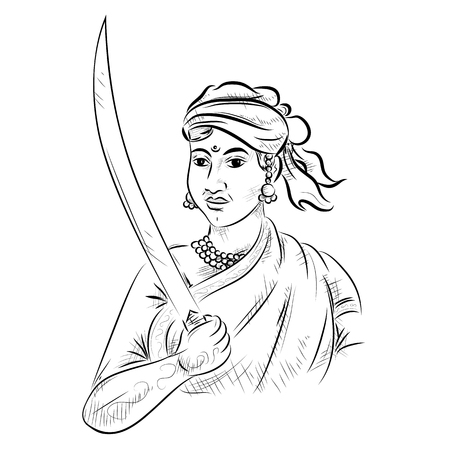 illustratie van Indiase achtergrond met Nation Hero en Freedom Fighter Rani Lakshmibai Pride of India