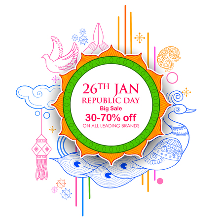 illustration of Indian background with tricolor for 26th January Happy Republic Day of India Sale and Promotion Advertisement banner Illustration