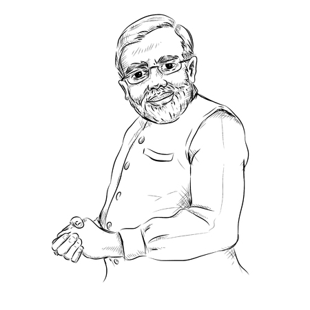 Isolated white background with Indian Great Leader Narendra Modi Pride of India