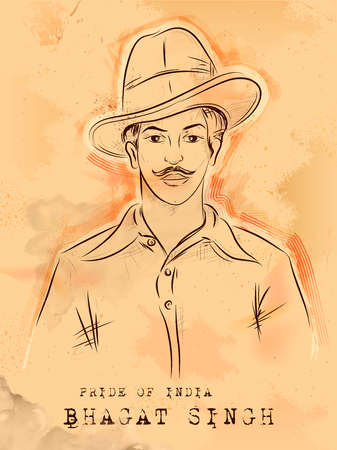 illustration of Vintage India background with Nation Hero and Freedom Fighter Bhagat Singh Pride of India Illustration