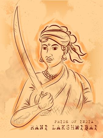 Fondo indio vintage con Nation Hero y Freedom Fighter Rani Lakshmibai Pride of India