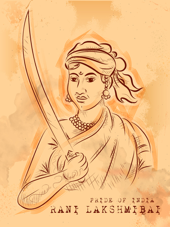 Vintage Indian background with Nation Hero and Freedom Fighter Rani Lakshmibai Pride of India