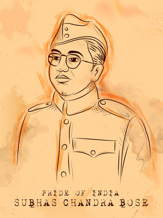 Vintage Indian background with Nation Hero and Freedom Fighter Subhash Chandra Bose Pride of India