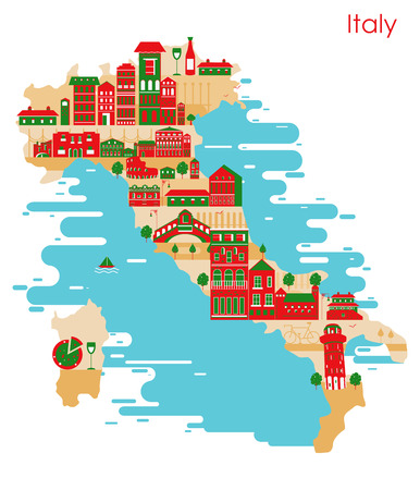 Map of country Italy with building and famous monument in vector