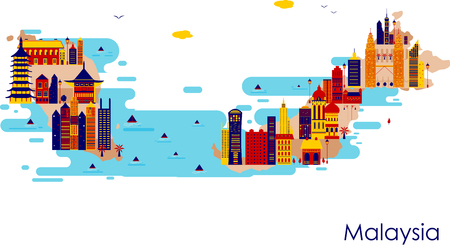 Map of country Malaysia with building and famous monument in vector Illustration