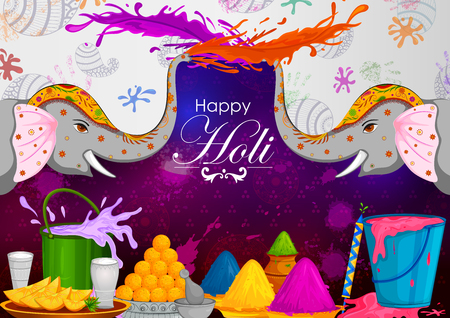 Colorful Traditional Holi background for festival of colors of India in vector Illustration