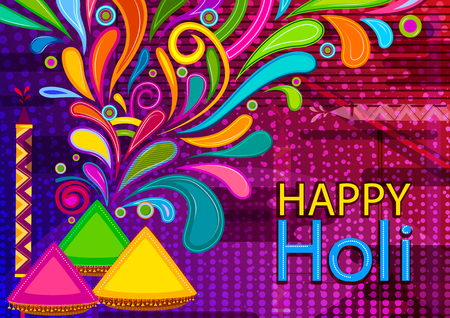Colorful Traditional Holi background for festival of colors of India