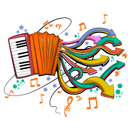 Abstract swirly musical background with Accordion music instrument