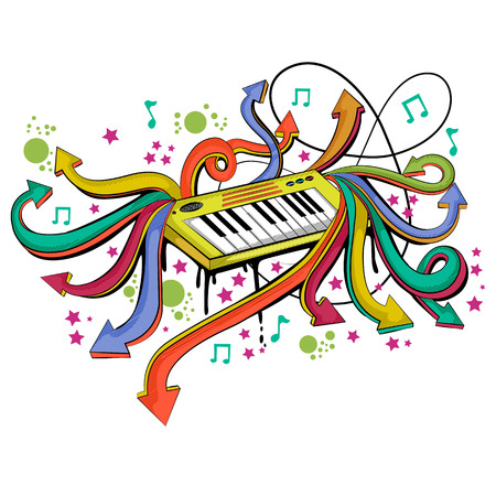 Abstract swirly musical background with Keyboard Synthesizer music instrument Illustration