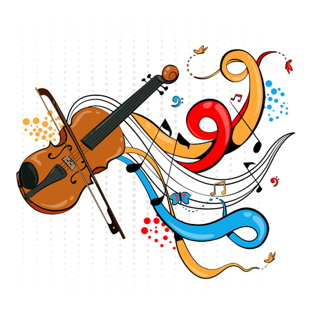 Abstract swirly musical background with Violin music instrument. Illustration