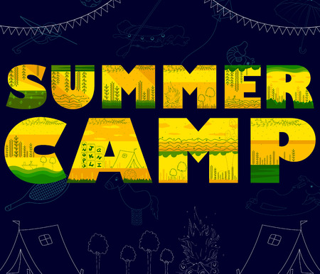 Modèle de conception d'affiche de camp d'été pour enfants en vecteur Vecteurs