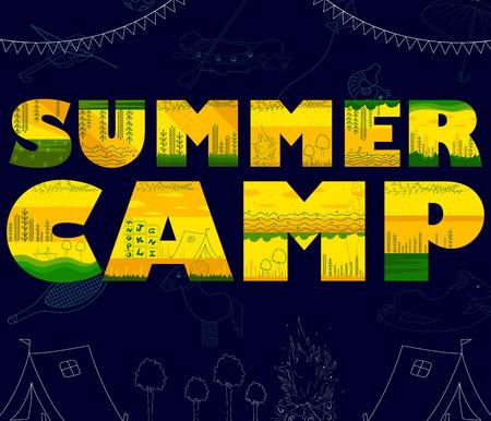 Children summer camp poster design template in vector