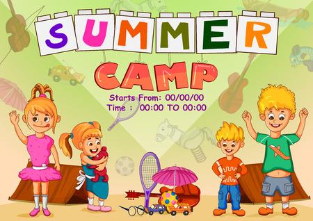 Children enjoying summer camp activities in vector 版權商用圖片 - 101059066