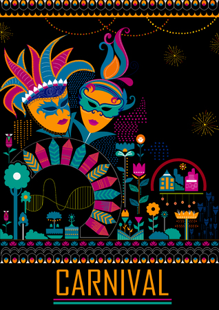 Colorful poster of fun filled Carnival festival template background Vettoriali