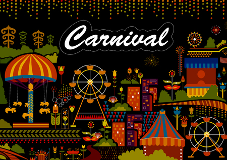 Colorful poster of fun filled Carnival festival template background Illustration