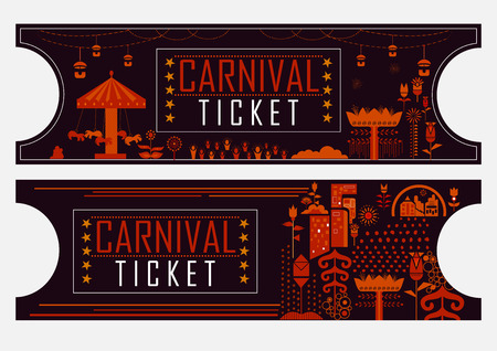 Colorful ticket of fun filled Carnival festival template 矢量图像