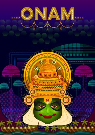 Happy Onam festival greetings to mark the annual Hindu festival of Kerala, India