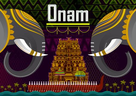 Gelukkige Onam-festivalgroeten ter gelegenheid van het jaarlijkse hindoefestival van Kerala, India Stockfoto - 105661634